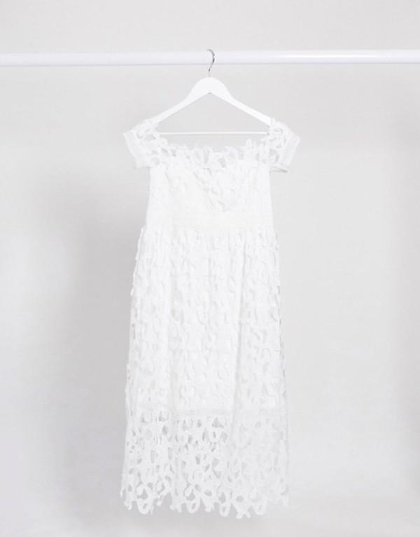 チチロンドン レディース ワンピース トップス Chi Chi London Maternity bardot lace midi dress in white White