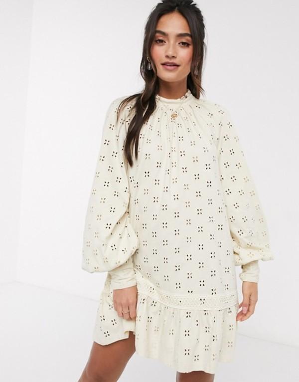 エイソス レディース ワンピース トップス ASOS DESIGN broderie long sleeve mini smock dress in cream Cream
