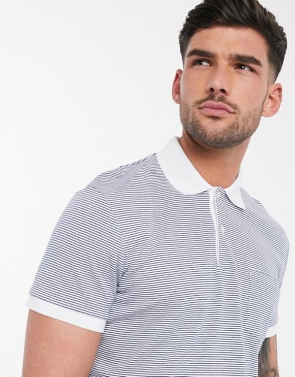 セレクテッドオム メンズ シャツ トップス Selected Homme polo shirt with contrast collar in white stripe Bright white