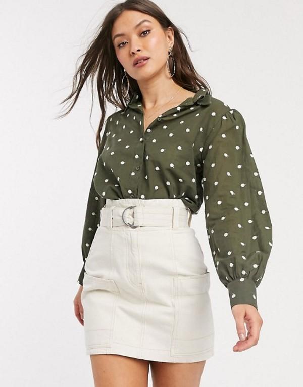 マンゴ レディース シャツ トップス Mango volume sleeve polka dot shirt in khaki Green