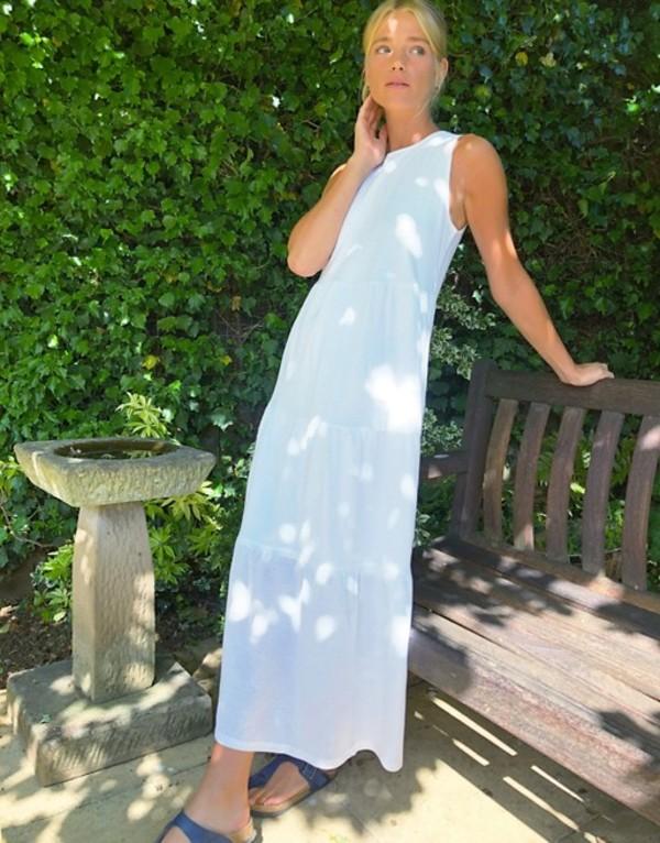 ストラディバリウス レディース ワンピース トップス Stradivarius sleevless smock midi dress in white Off-white