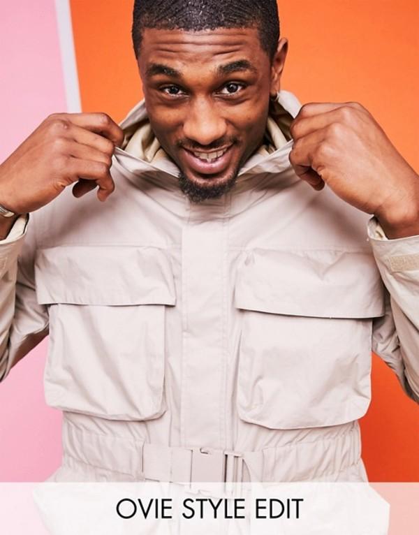 エイソス メンズ ジャケット・ブルゾン アウター ASOS WHITE utility jacket with 3d pockets in beige nylon Silver gray