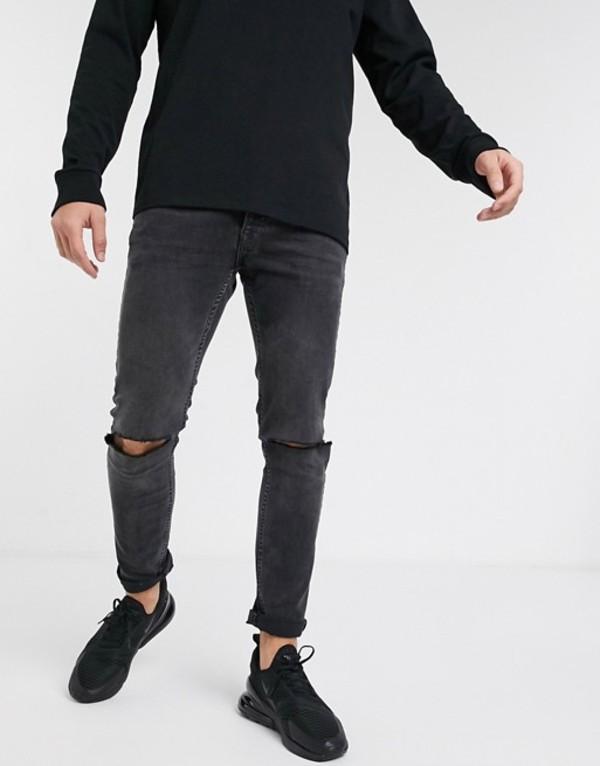 トップマン メンズ デニムパンツ ボトムス Topman skinny jeans with knee rips in washed black Black