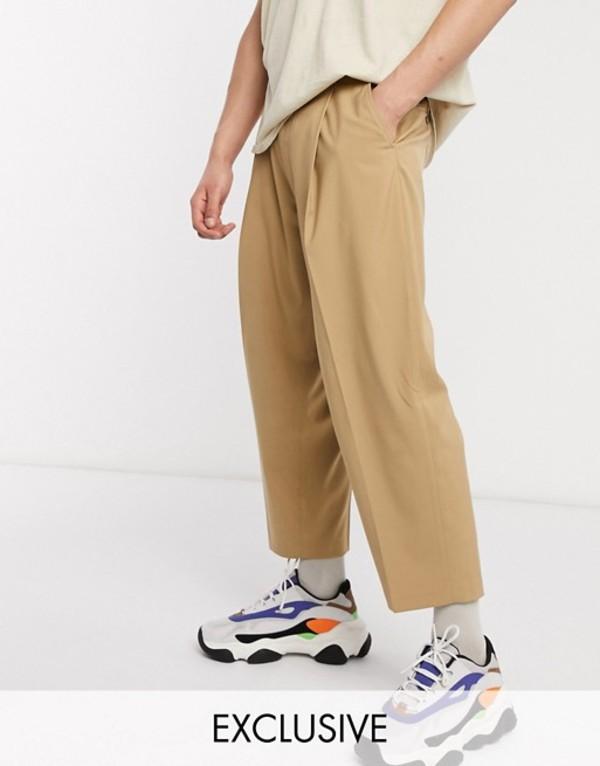 リクレイム ヴィンテージ メンズ カジュアルパンツ ボトムス Reclaimed vintage wide leg smart pants Camel