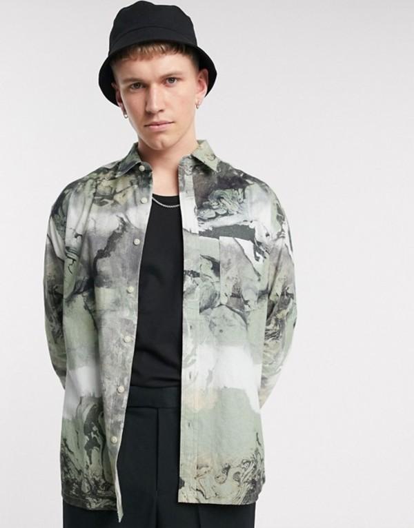 エイソス メンズ シャツ トップス ASOS DESIGN 90s oversized shirt in green smoke marble print Green