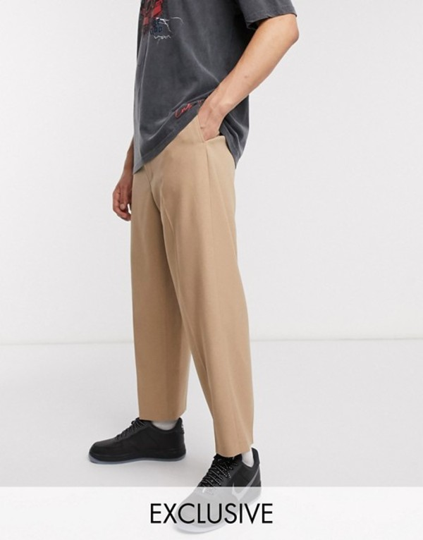 リクレイム ヴィンテージ メンズ カジュアルパンツ ボトムス Reclaimed Vintage wide leg pants in camel Camel