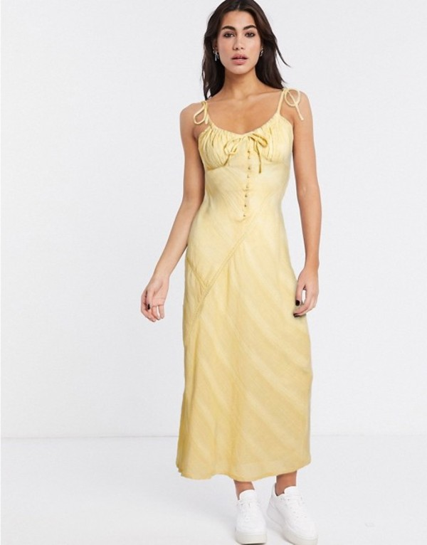 エイソス レディース ワンピース トップス ASOS DESIGN lace insert bias maxi dress with ruched bust Buttermilk yellow