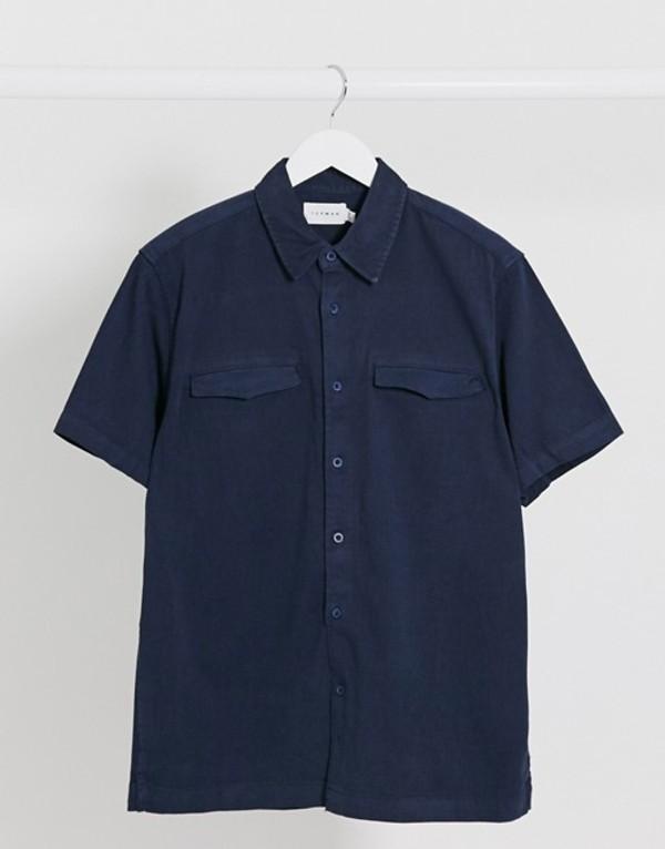 トップマン メンズ シャツ トップス Topman short sleeve twill shirt in washed navy Navy