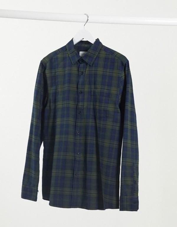 トップマン メンズ シャツ トップス Topman long sleeve check shirt in green & navy Multi