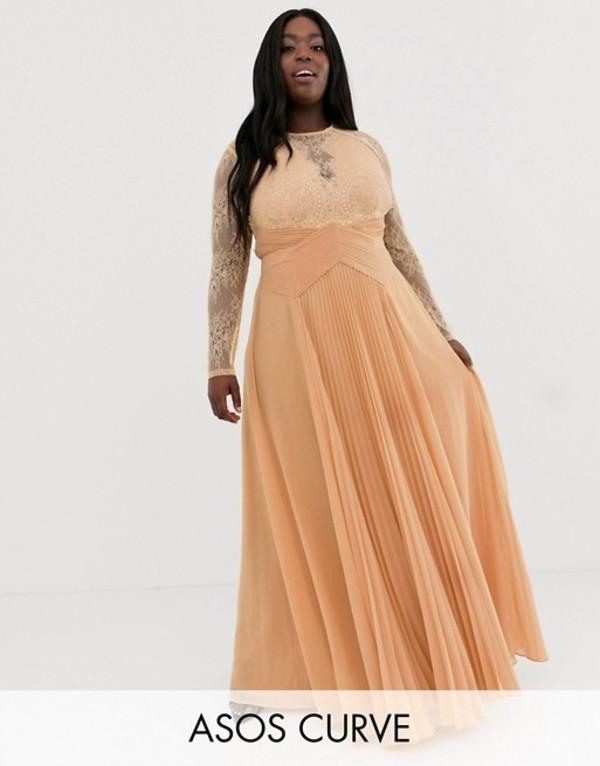 エイソス レディース ワンピース トップス ASOS DESIGN Curve long sleeve lace paneled pleat maxi dress Apricot