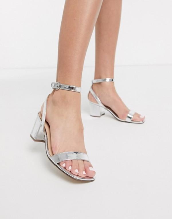 ロンドンレベル レディース サンダル シューズ London Rebel kitten heel barely there sandals in silver Silver