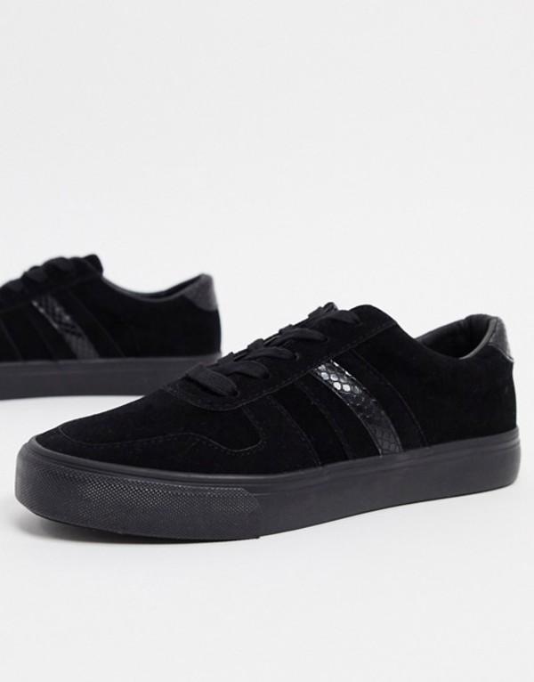 ロンドンレベル レディース スニーカー シューズ London Rebel side stripe lace up sneakers in black Black