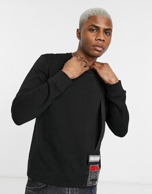 レリジョン メンズ シャツ トップス Religion utility sweatshirt with patch pocket in black Black