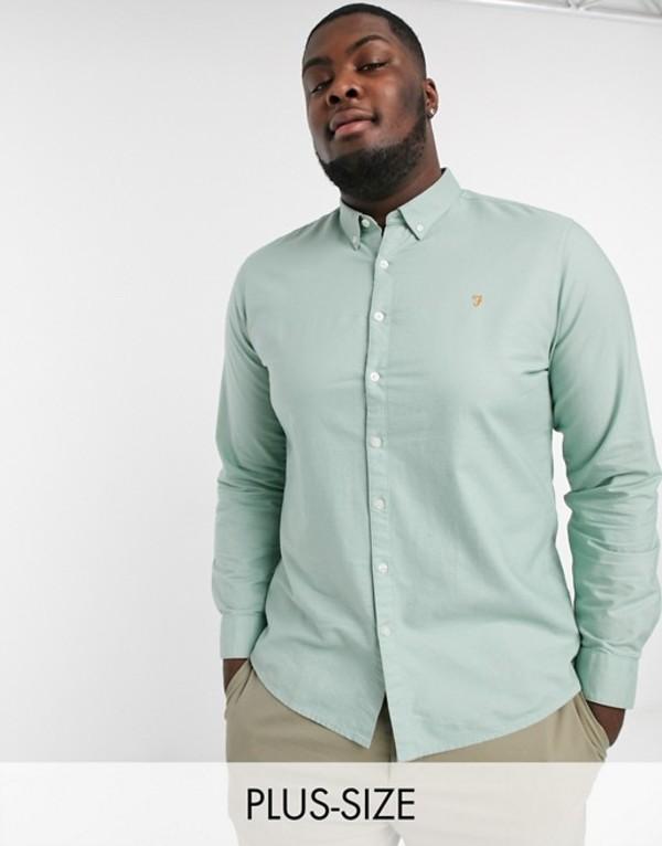 ファーラー メンズ シャツ トップス Farah Brewer slim fit oxford shirt in green Green haze