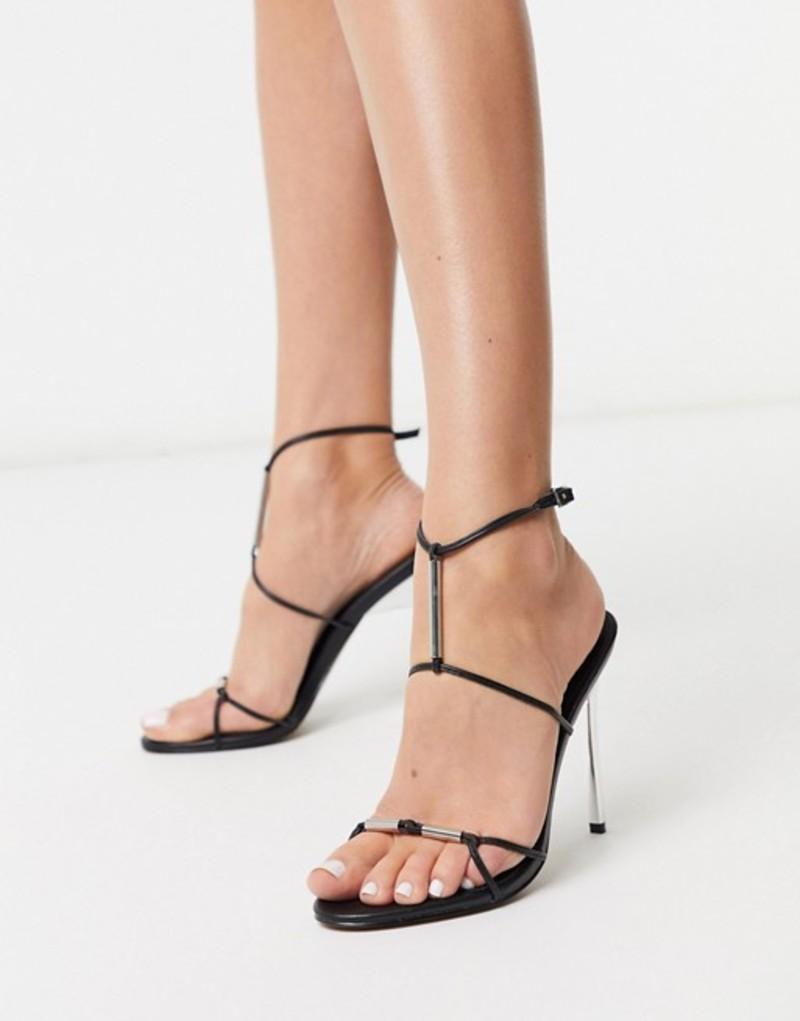エイソス レディース サンダル シューズ ASOS DESIGN Now metal trim t-bar heeled sandals in black Black