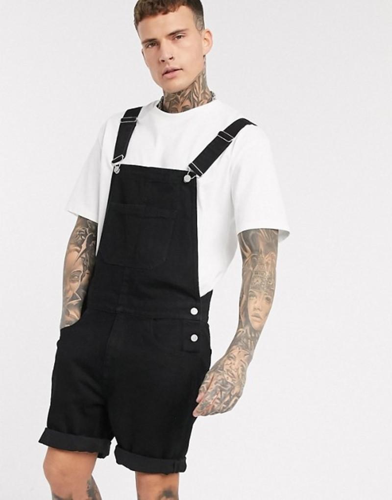 エイソス メンズ カジュアルパンツ ボトムス ASOS DESIGN denim overall shorts in black Black