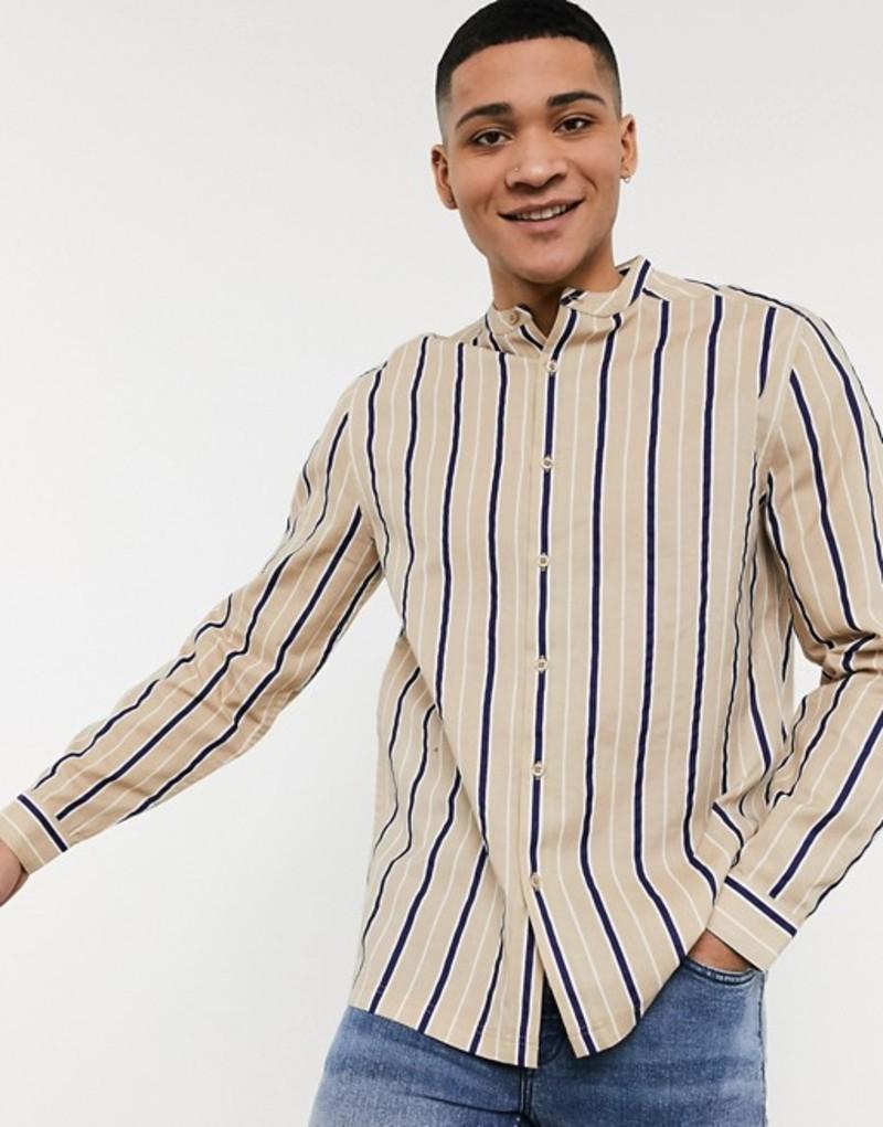エイソス メンズ シャツ トップス ASOS DESIGN relaxed fit grandad collar stripe shirt in beige Beige