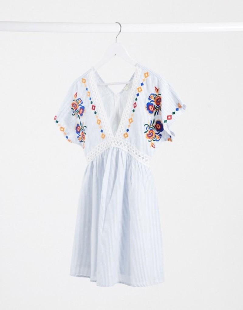エンクリーム レディース ワンピース トップス En Creme smock dress with ladder inserts and floral embroidery Light blue