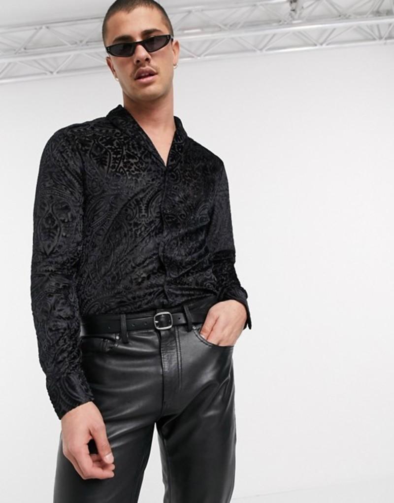 エイソス メンズ シャツ トップス ASOS DESIGN regular fit paisley burnout shawl collar shirt in black Black