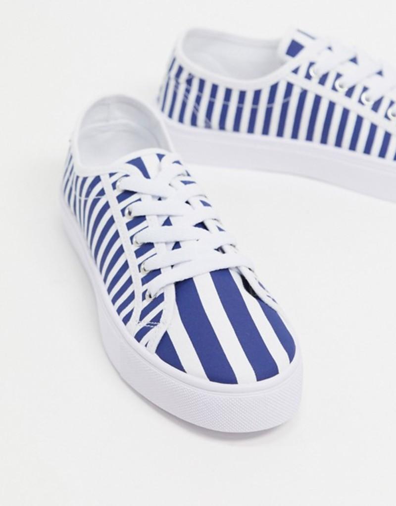 エイソス レディース スニーカー シューズ ASOS DESIGN Dizzy lace up sneakers in stripe Stripe