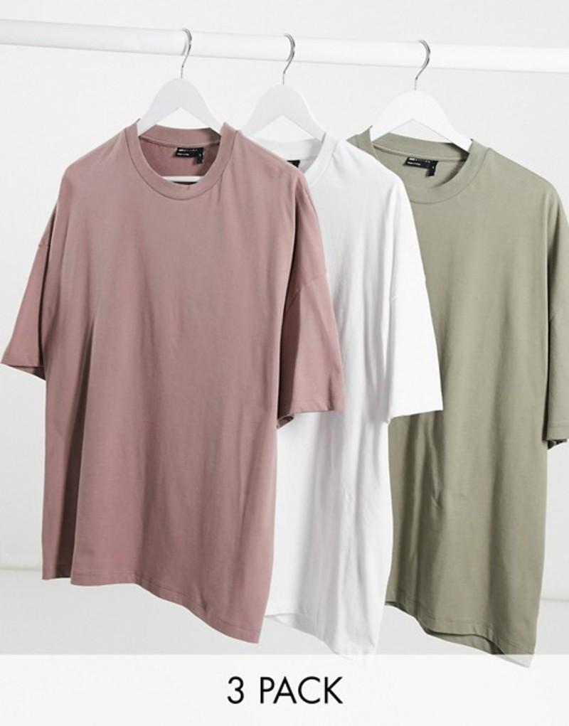 エイソス メンズ シャツ トップス ASOS DESIGN 3 pack oversized t-shirt save Wht/tm/vet