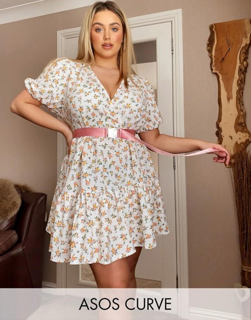 エイソス レディース ワンピース トップス ASOS DESIGN curve mini smock dress with v neck in floral print Floral print