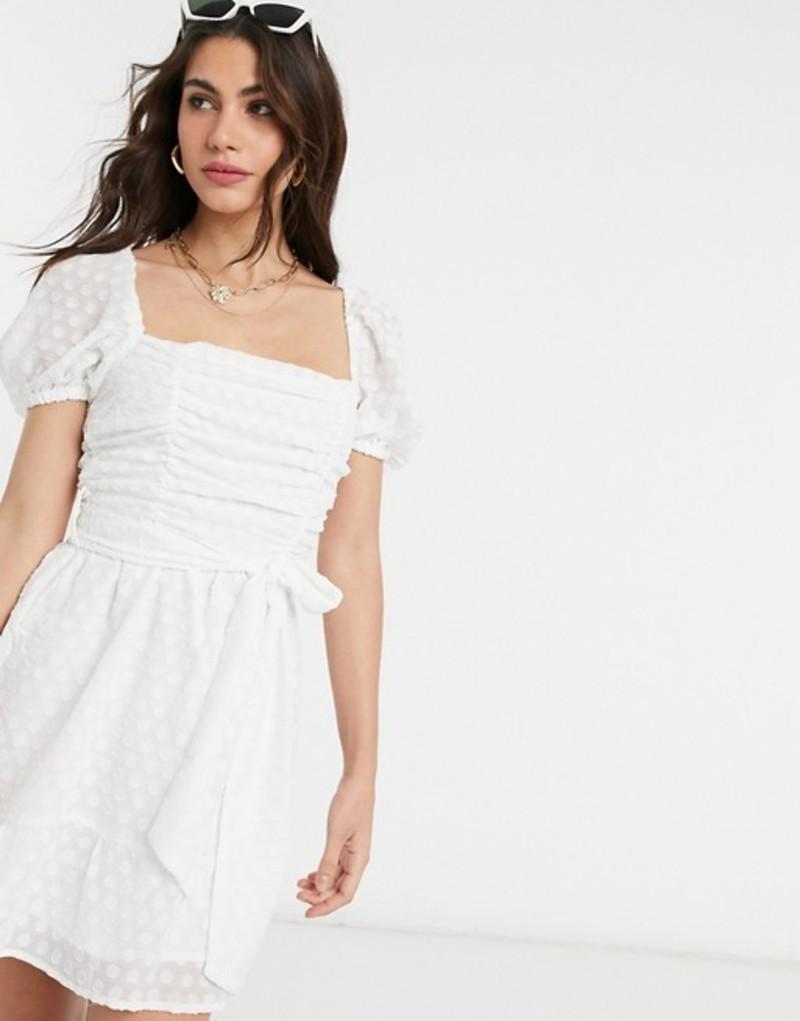 ファッションモンキー レディース ワンピース トップス Fashion Union square neck mini dress in boderie White