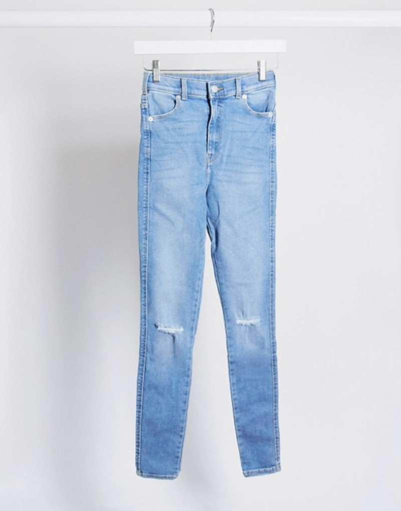 ドクターデニム レディース デニムパンツ ボトムス Dr Denim Moxy sky high super skinny jeans with ripped knees Westcoast light blue