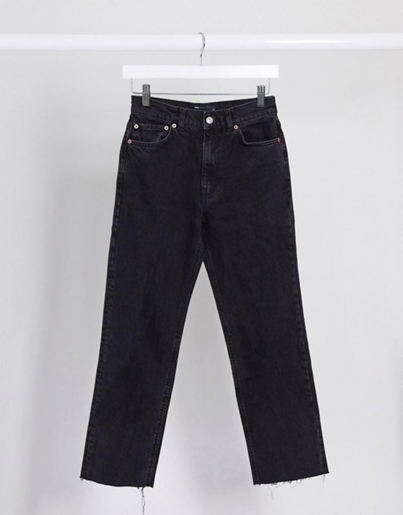 エイソス レディース デニムパンツ ボトムス ASOS DESIGN High rise 'Effortless' stretch crop flare jeans in black Black