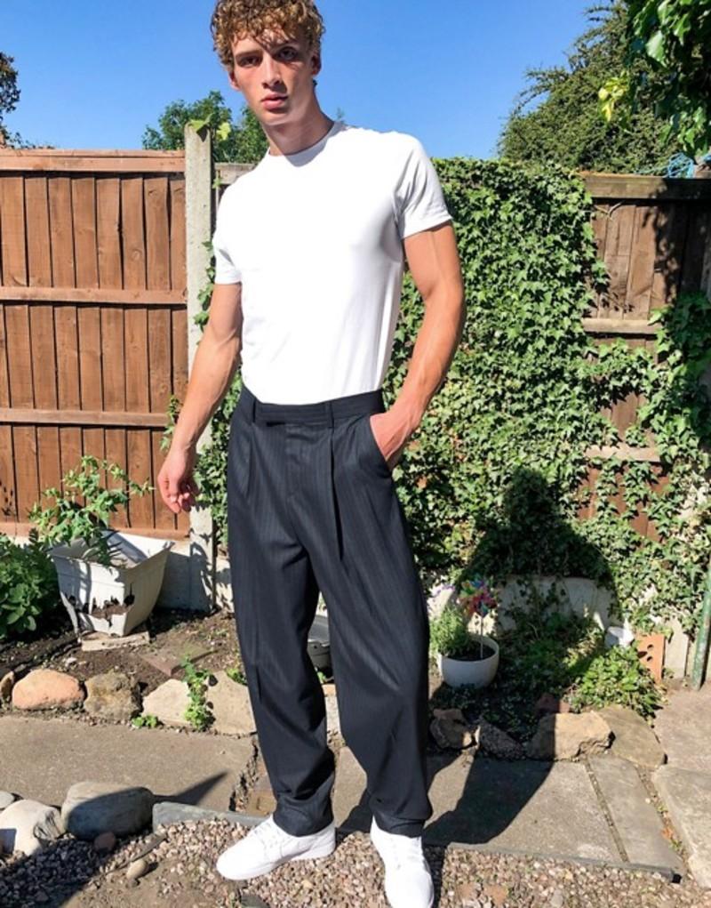 エイソス メンズ カジュアルパンツ ボトムス ASOS DESIGN high waisted slim smart pants in navy Navy