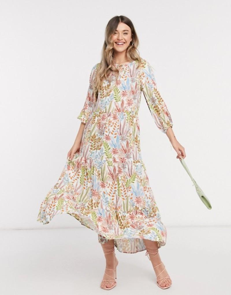 ワイエーエス レディース ワンピース トップス Y.A.S tiered maxi dress in cream floral Cream floral