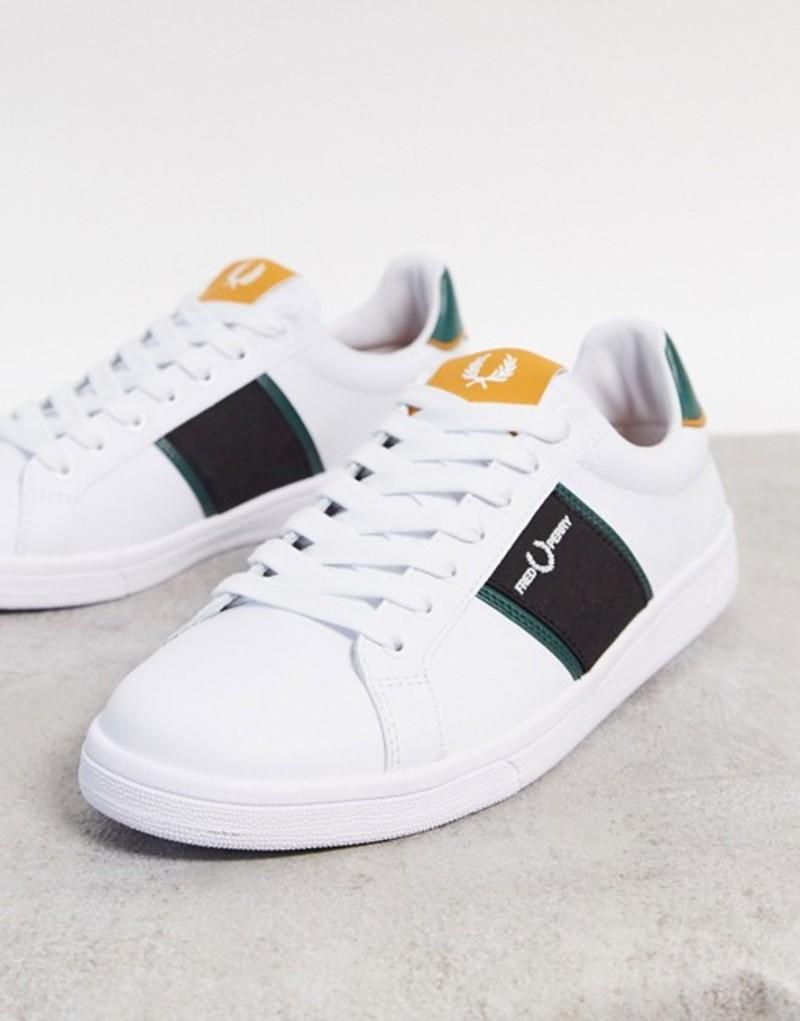 フレッドペリー メンズ スニーカー シューズ Fred Perry B721 leather sneakers with panel logo in white White