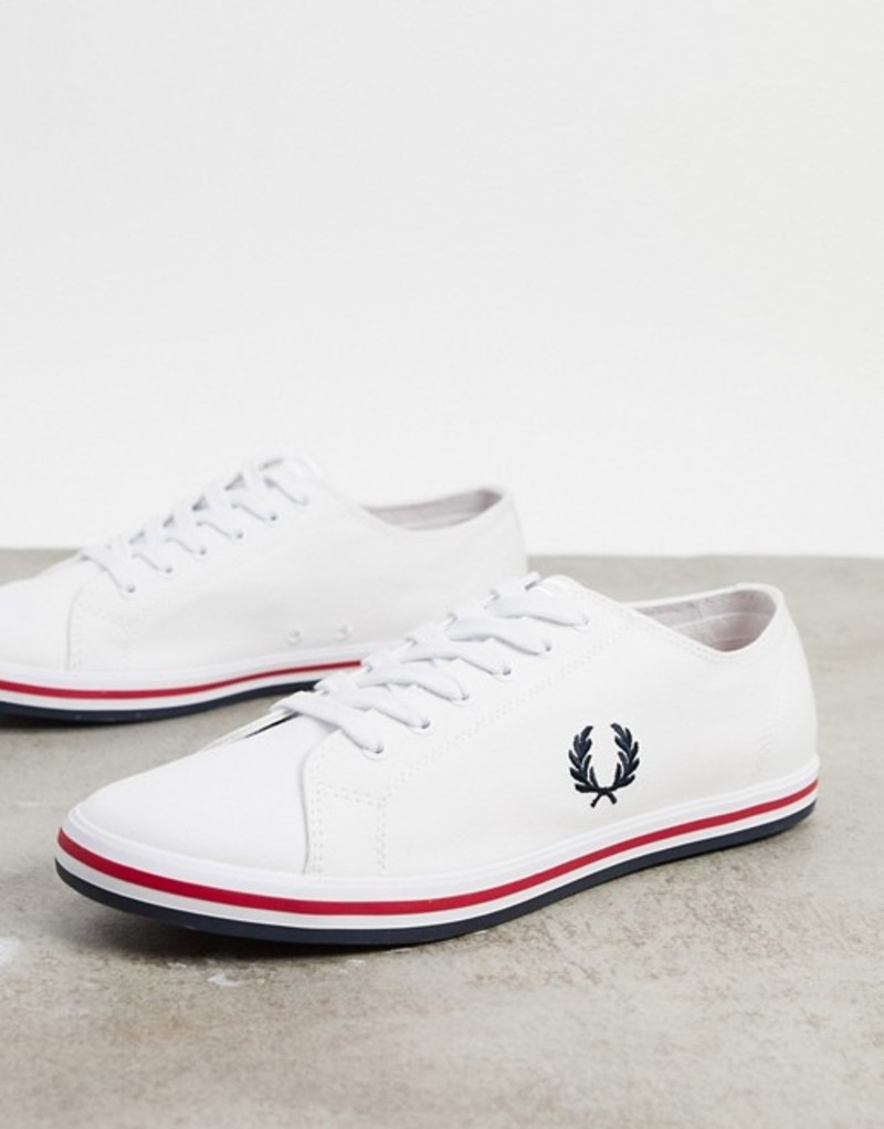 フレッドペリー メンズ スニーカー シューズ Fred Perry Kingston canvas plimsolls with contrast sole in white White