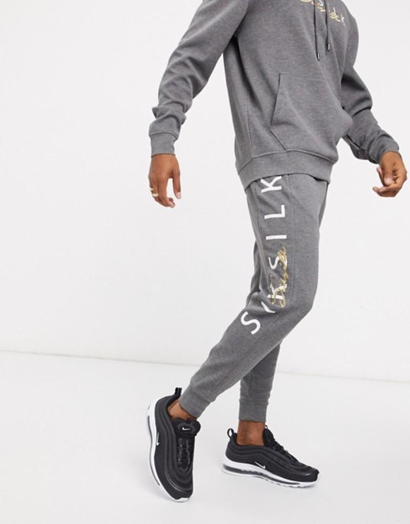 シックシルク メンズ カジュアルパンツ ボトムス Siksilk sweatpants with signature logo in gray Gray