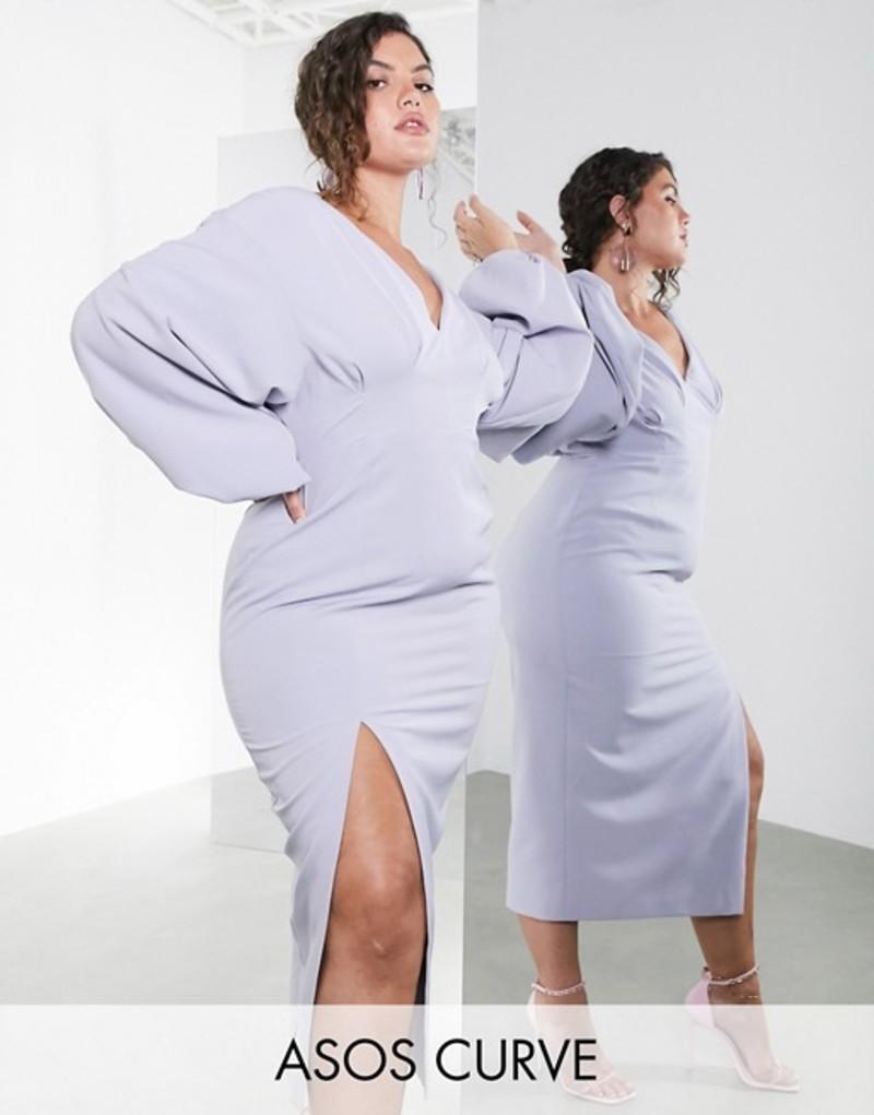 エイソス レディース ワンピース トップス ASOS EDITION Curve midi pencil dress with volume sleeves Steel gray