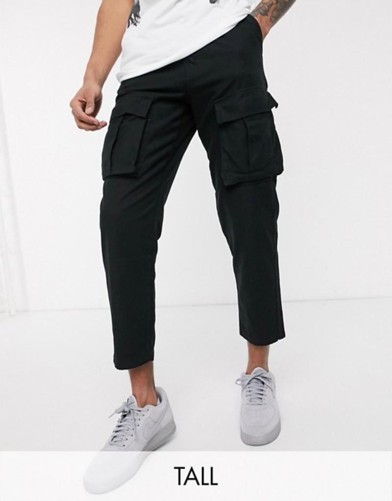 レリジョン メンズ カジュアルパンツ ボトムス Religion Tall tapered fit cargo pants with belt in black Black