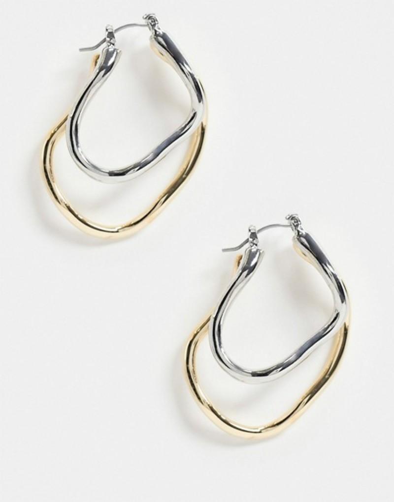 エイソス レディース ピアス・イヤリング アクセサリー ASOS DESIGN hoop earrings in abstract twist design in mixed tone Multi:ReVida 店