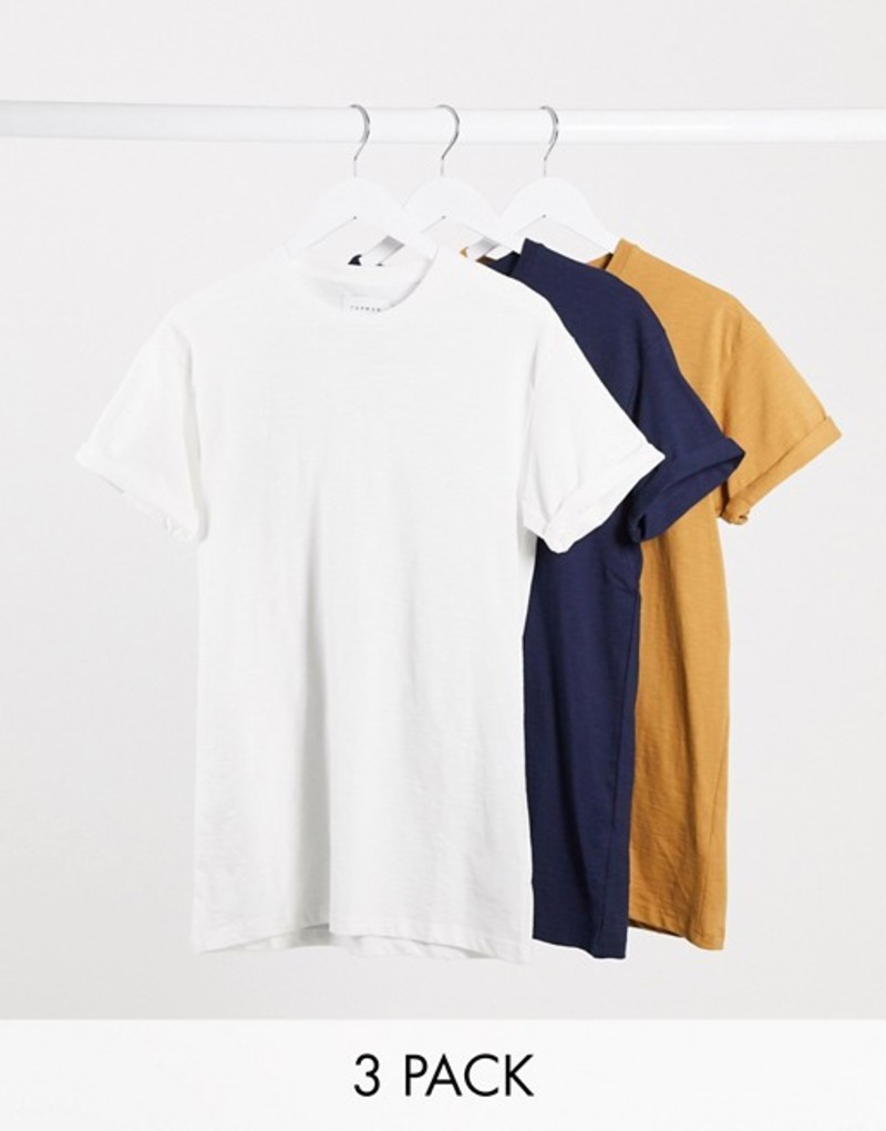 トップマン メンズ シャツ トップス Topman 3 pack t-shirts in white navy & brown Multi