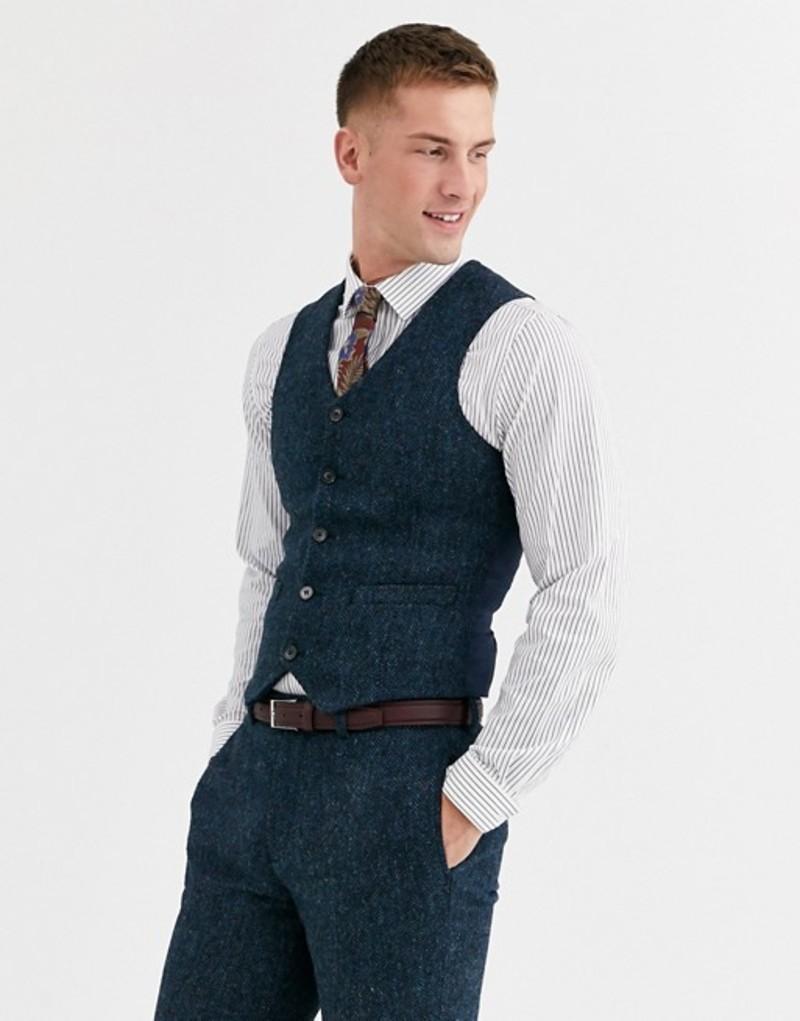 エイソス メンズ ベスト トップス ASOS DESIGN slim suit suit vest in 100% wool Harris Tweed in blue herringbone Blue