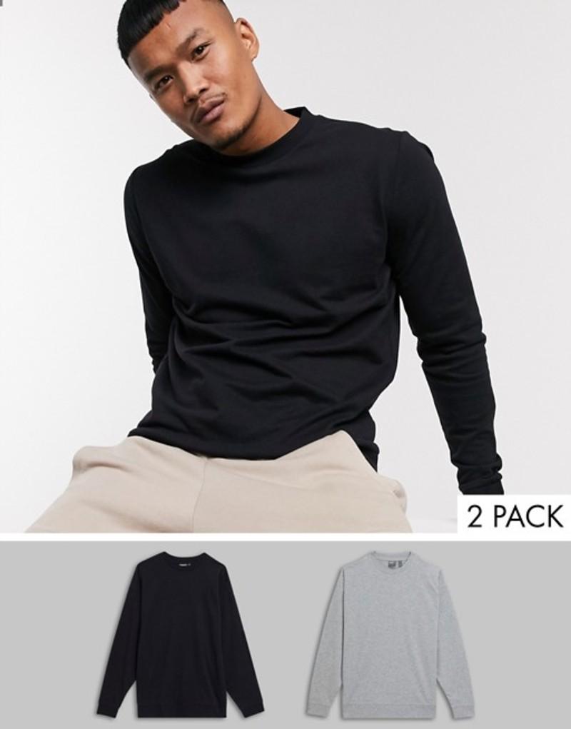 エイソス メンズ シャツ トップス ASOS DESIGN lightweight sweatshirt 2 pack in black & gray marl Black/gry marl