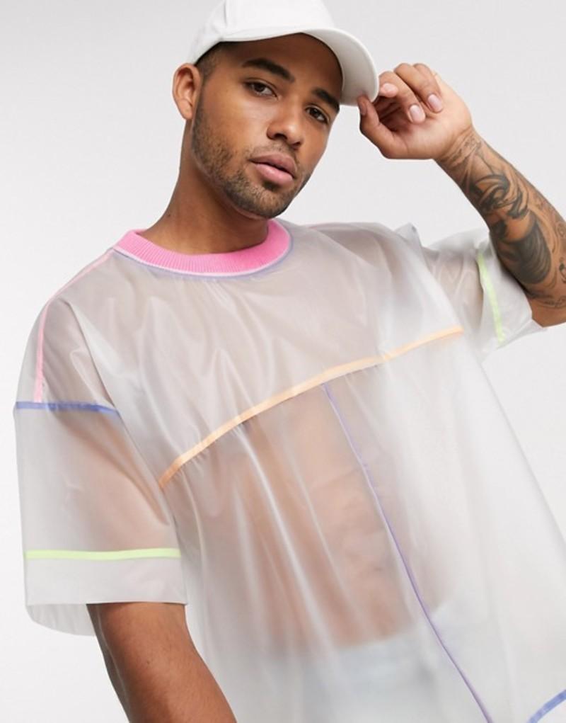 エイソス メンズ シャツ トップス ASOS DESIGN oversized t-shirt with transparent fabric with color piping White