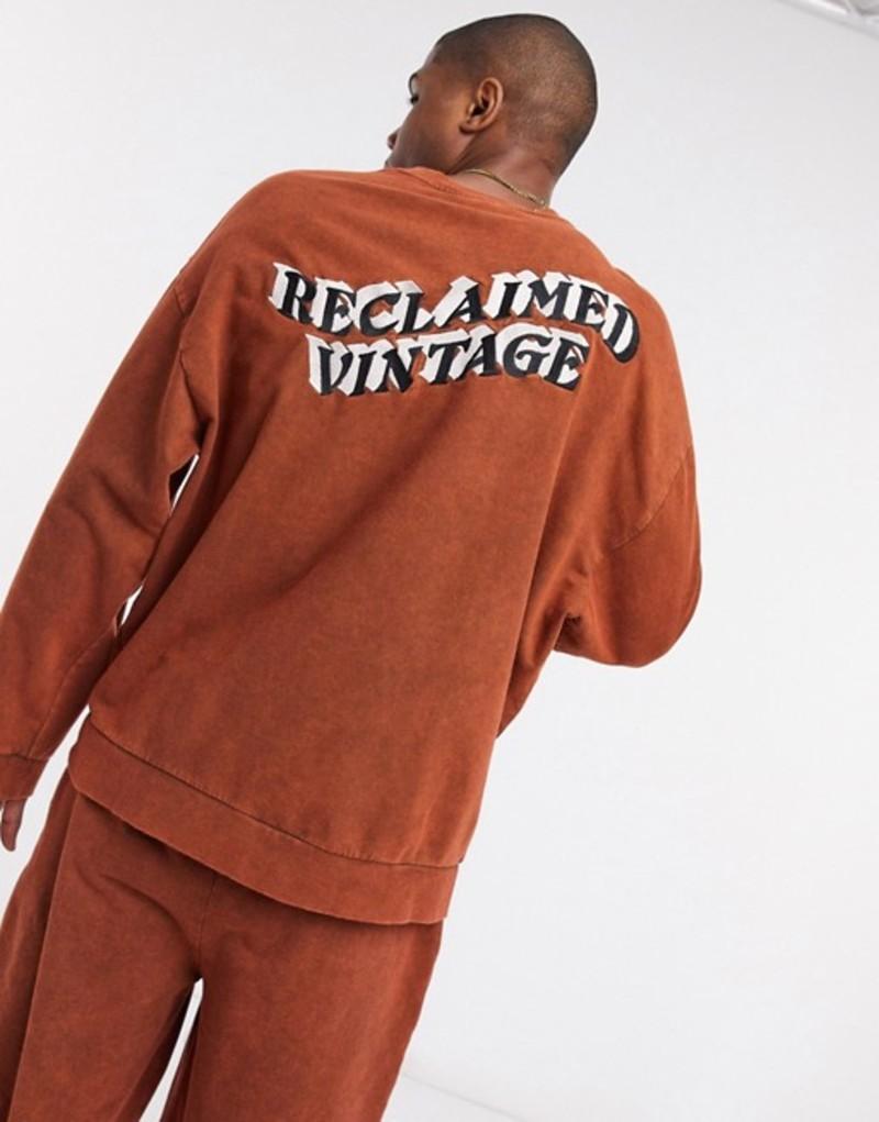 リクレイム ヴィンテージ メンズ シャツ トップス Reclaimed Vintage inspired oversized sweat in brown Brown