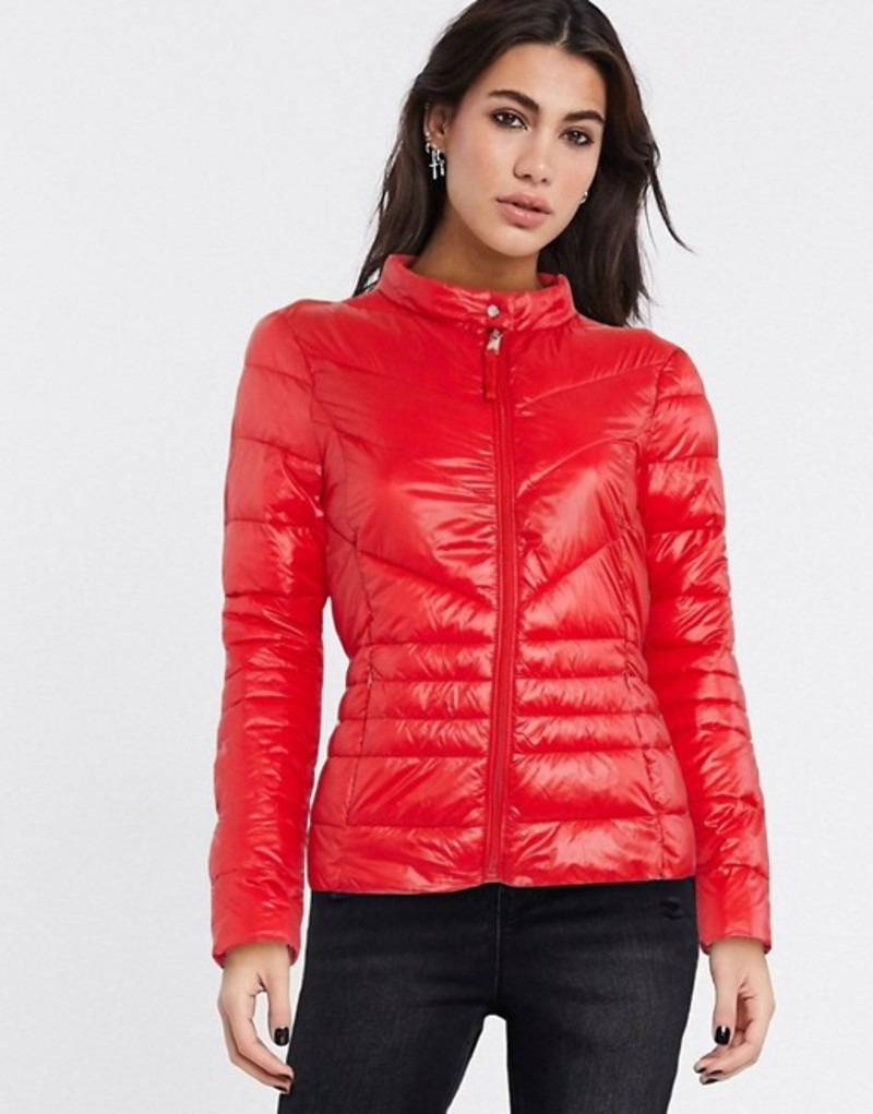 ヴェロモーダ レディース ジャケット・ブルゾン アウター Vero Moda padded jacket in red Goji berry