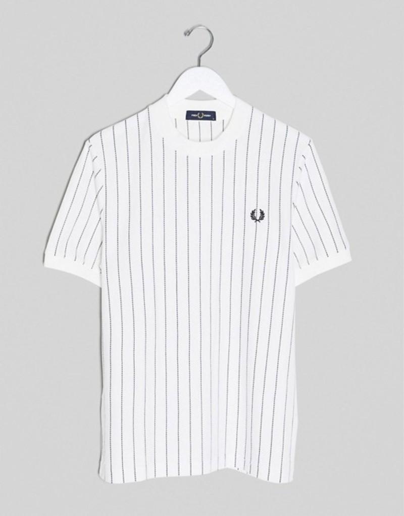 フレッドペリー メンズ シャツ トップス Fred Perry vertical stripe pique t-shirt in white Snow white