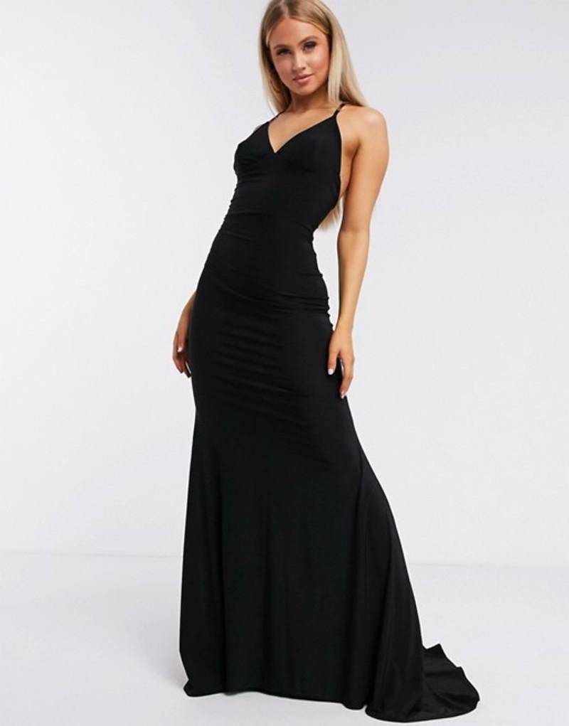 クラブエル ロンドン レディース ワンピース トップス Club L London cross back fishtail maxi dress in black Black