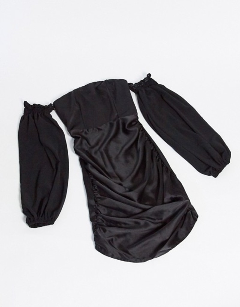 クラブエル ロンドン レディース カジュアルパンツ ボトムス Club L London bardot satin mini dress with volume sleeve in black Black