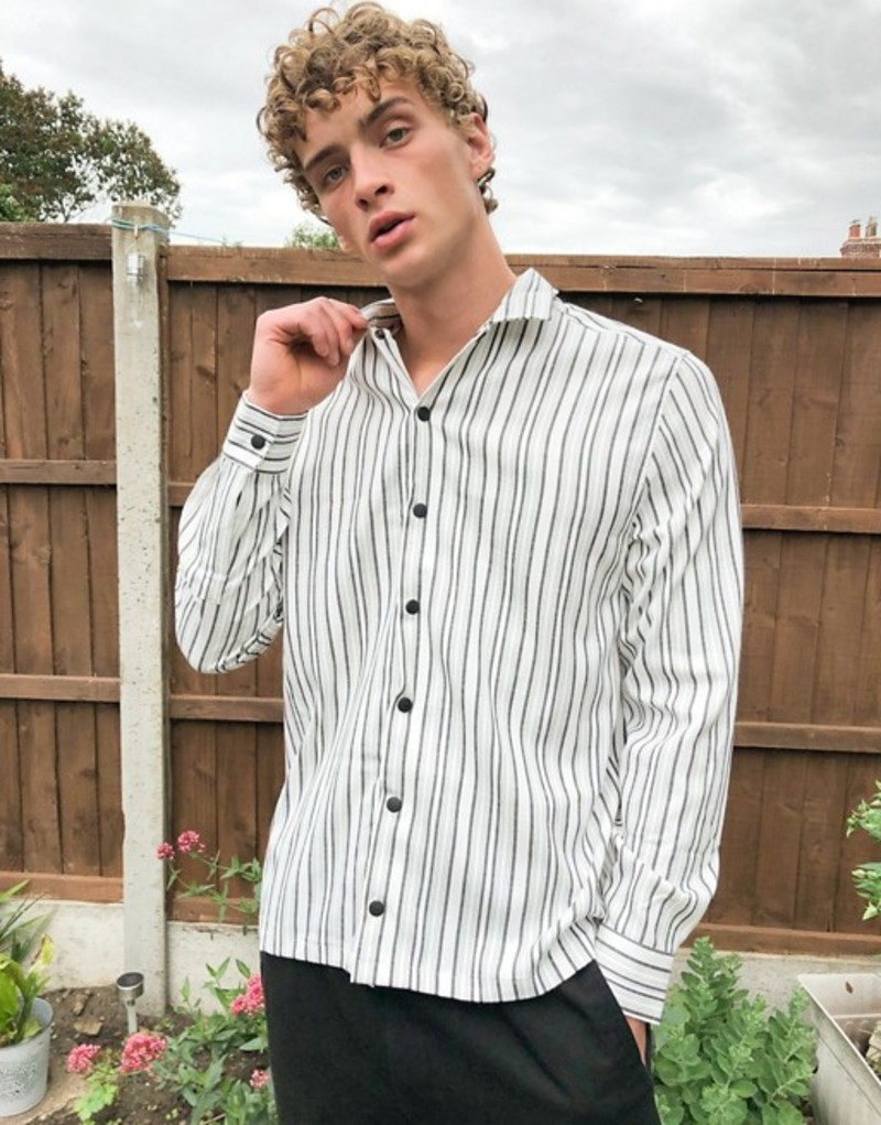 エイソス メンズ シャツ トップス ASOS DESIGN smart overshirt in back and white stripe with chest pockets White