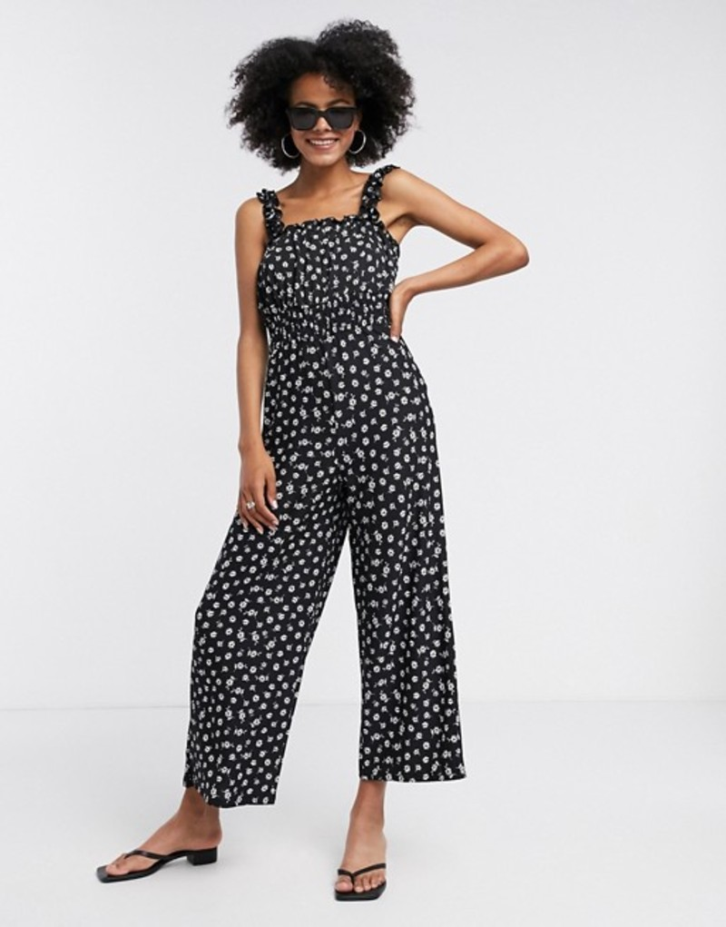 トップショップ レディース ワンピース トップス Topshop shirred jumpsuit in black floral Multi