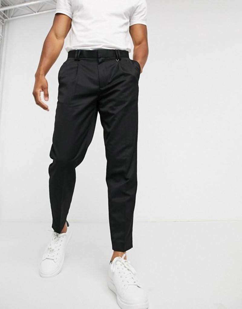 トップマン メンズ カジュアルパンツ ボトムス Topman double pleated tapered pants in black Black