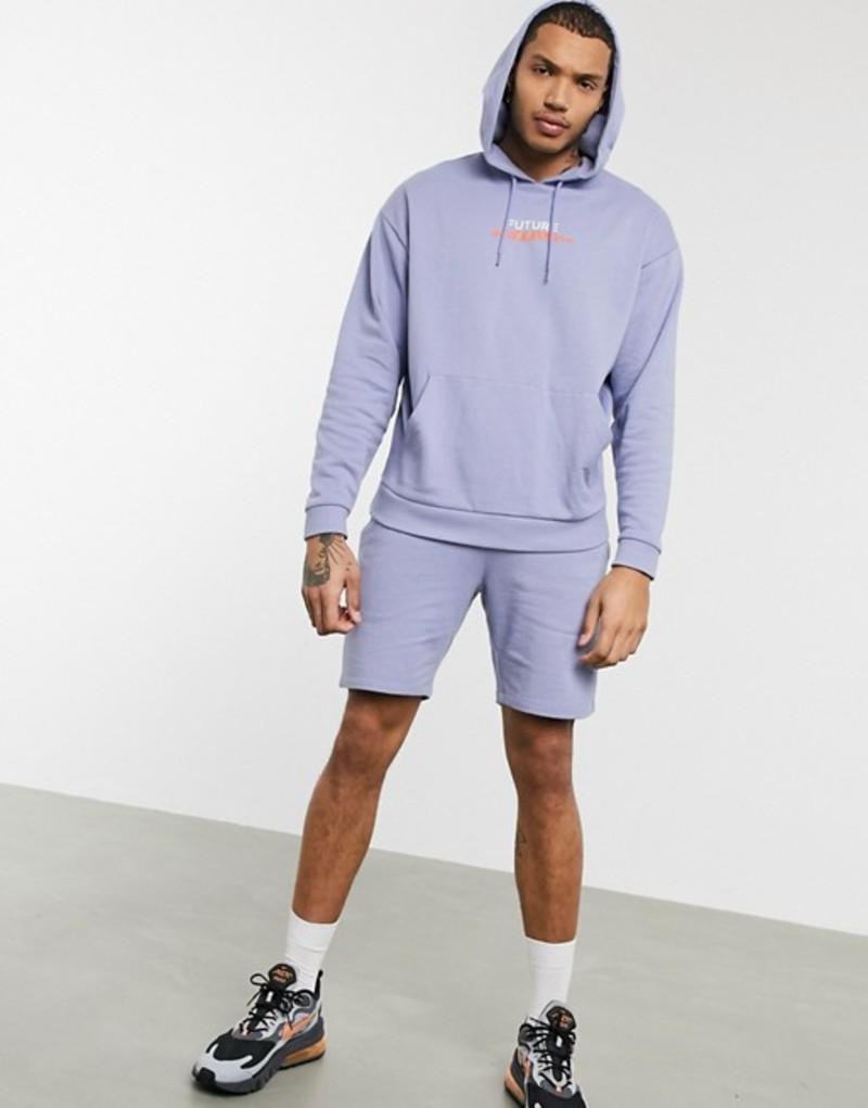 エイソス メンズ パーカー・スウェット アウター ASOS DESIGN tracksuit in purple with oversized hoodie and slim shorts with text print Thistle down